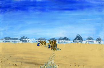 Train of camels goes through the desert. Sunny and windy day time. Mirage on the horizon. Oil Painting on Canvas