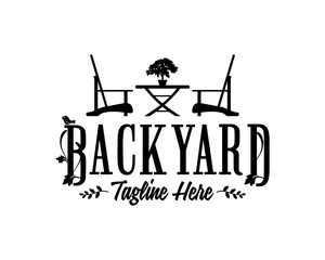 Backyard Table and Chairs with Decorative Plants or Bonsai Illustration Silhouette Logo Symbol Vector