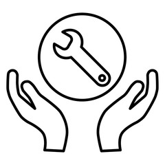 wrench in hands line icon. Technical support. Repair service. Flat simple outline illustration isolated on white.