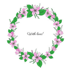 Apple flowers wreath isolated on white background, Round frame hand drawn doodle vector sketch herbal colorful illustration pink sakura for design greeting card, wedding invitation, cosmetics, beauty