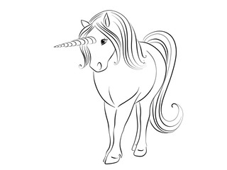 calligraphic illustration of a unicorn