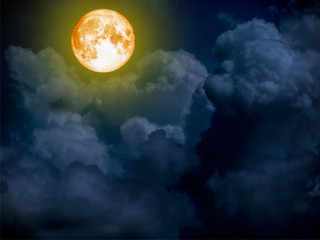 super blue blood moon on cloud night sky