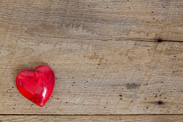 Red Onyx heart on barn wood