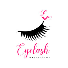 Eyelash extension logo. Makeup with pink butterfly. Vector illustration in a modern style