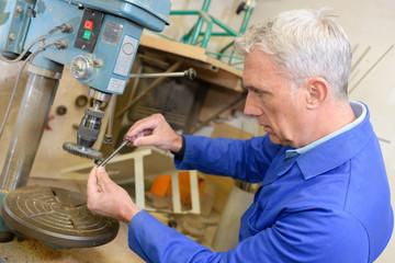 industry worker focused on his work