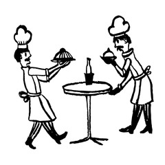 drawing picture two cooks served on a table of dishes in a restaurant, sketch, hand-drawn comic graphic vector illustration
