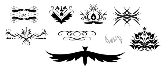 vector drawing tattoo ornaments..