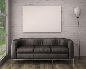 Mock up poster with black sofa, 3d illustration