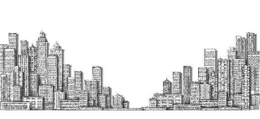 City landscape sketch. Hand drawn illustration