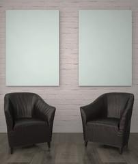 mock up poster frame in interior background. 3D Illustration, 3d render