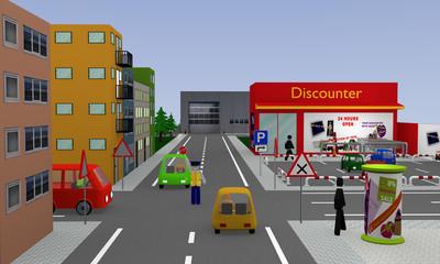 Stadtansicht mit Discounter, Parkplatz, Autos, Straßenschildern und Polizist mit Stopschild der den Verkehr regelt. 3d render