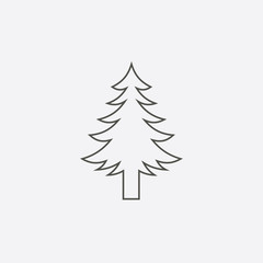 christmas tree vector line icon, christmas pine tree icon