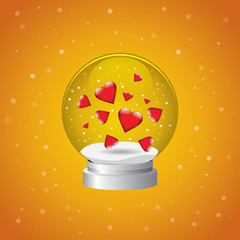 Snowglobe Hearts Orange background