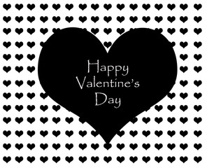 Valentines Day,greeting card, black heart and white background.