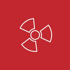 radiation symbol line icon on white background