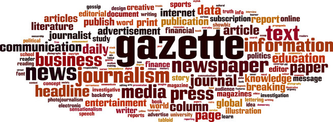 Gazette word cloud concept