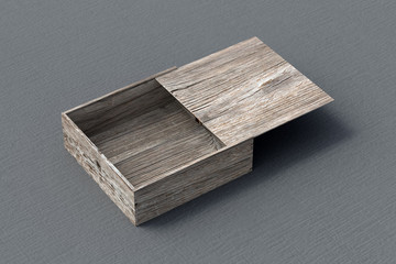 Open wooden box with slide lid