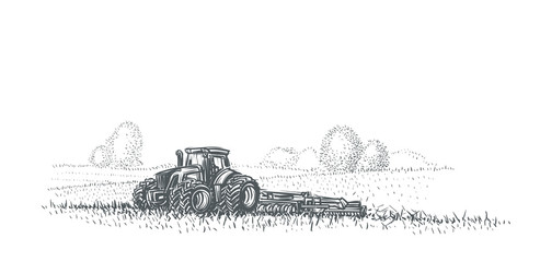 Tractor working in field illustration. Vector. eps 10.