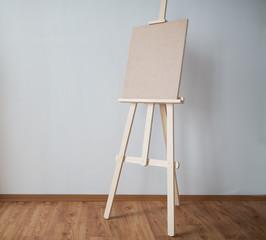 wooden easel at art studio