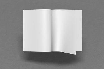 Blank magazine pages with bent glossy pape