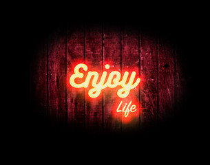 """A dark and realistic neon light illustration saying """"Enjoy Life"""" in an orange, red, and yellow glow."""