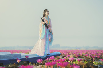 woman with lotus