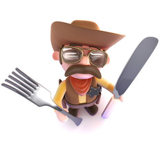 3d Funny cartoon cowboy sheriff holding a knife and fork