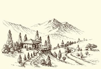 Farm and village landscape sketch