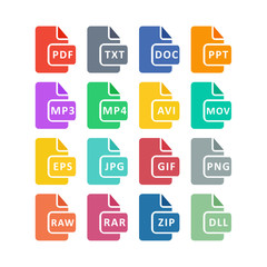 File type icon. File extensions. Vector stock.