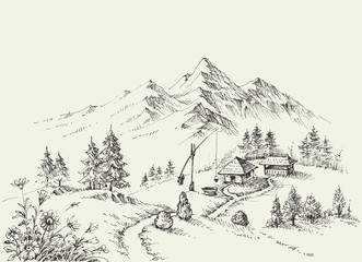 Pastoral site in the mountains. Pure alpine idyllic landscape