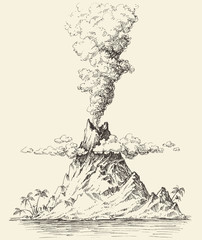Active volcano drawing. Volcanic eruption on a island vector
