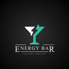 Energy bar symbol. Cocktail with lightning. Vector