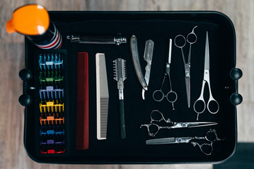 Set of scissors and combs