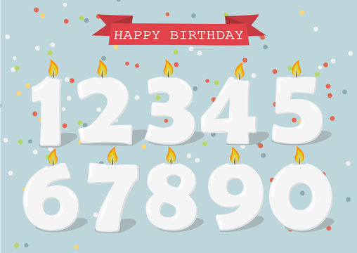 Set of Happy Birthday candle numbers. Vector illustration