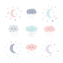 Cute hand drawn smiling clouds and moon with stars. Funny weather theme