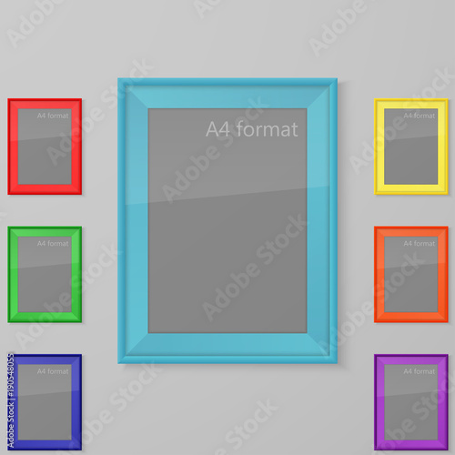 Realistic Rectangular Blank Picture Frame A4 Sizes Set Of Color
