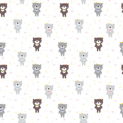 Cute seamless pattern with cartoon bear. Lovely childish print. Baby shower design