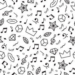 Doodle seamless pattern with music notes, hearts, stars and other geometric elements. Modern hand drawn background. Music theme