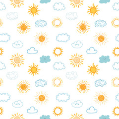 Seamless pattern with hand drawn clouds and sun. Doodle, sketch. Cute background