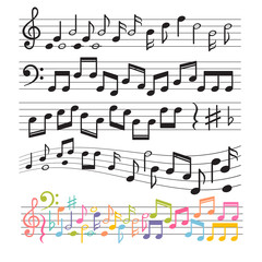 Set of hand drawn music notes. Music design elements. Key sign collection. Melody symbols