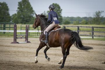 Woman riding bay gallops away