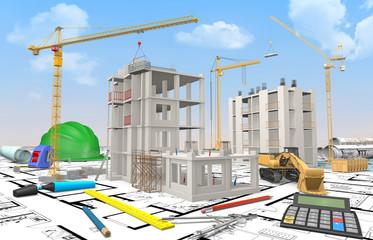 Maquette chantier bâtiment en construction avec calculatrice et dessin industriel