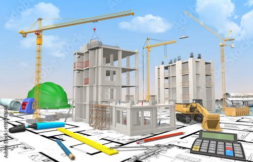 maquette chantier b timent en construction avec calculatrice et dessin industriel stock photo. Black Bedroom Furniture Sets. Home Design Ideas