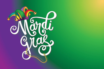 Mardi Gras background with hand drawn lettering. EPS10 vector illustration. Wall mural