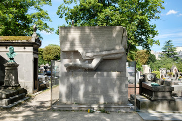 The grave of Oscar Wilde at Pere Lachaise cemetery in Paris