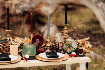 Wedding table decor with candles