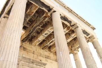Columns and ceiling of Erechtheum Temple, Acropolis, Athens, Greece