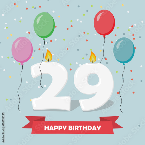 29 years celebration happy birthday greeting card with candles 29 years celebration happy birthday greeting card with candles confetti and balloons bookmarktalkfo Images
