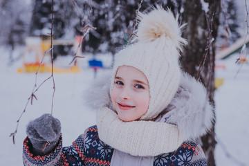 girl in the winter park