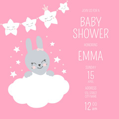Cute baby shower girl invite card vector template. Pink design illustration with little cartoon bunny and princess star garland. Kids newborn poster or birthday party invitation background.
